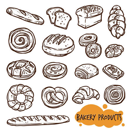 bakery products: Bakery Products Set In Sketch Linear Style Illustration
