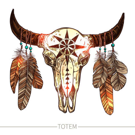 Buffalo Skull With Feathers. Color Illustration. Native American Totem