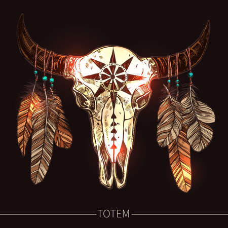 Buffalo Skull With Feathers. Native American Totem