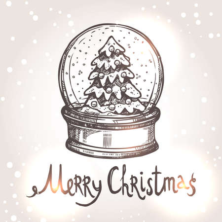 snowglobe: Christmas Card With Snowglobe In Sketch Style Illustration