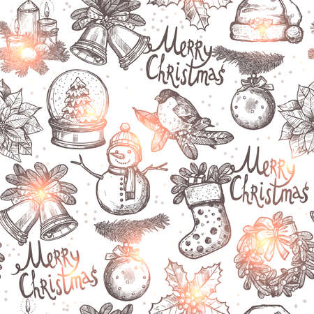 christmas candle: Christmas Monochrome Seamless Pattern With Sketch Objects