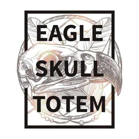 cranial skeleton: Fashionable Hipster Design With Eagle Skull