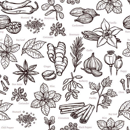 Herbs And Spice Sketch Seamless Monochrome Pattern