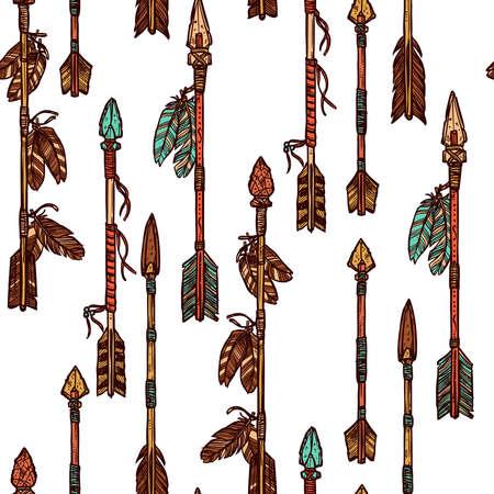 流行に敏感な手は、矢印のシームレスなパターンを描画します。インド矢印パターン  イラスト・ベクター素材