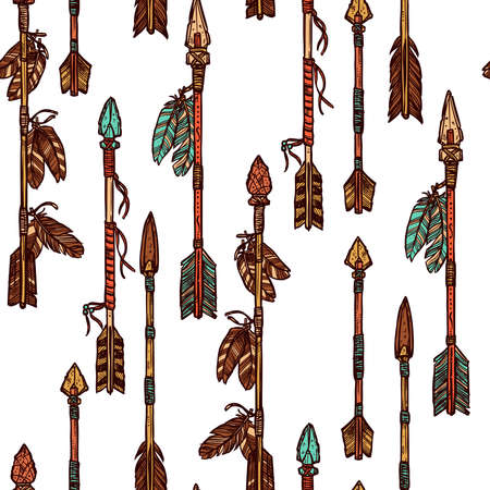 Hipster Hand Drawn Arrows Seamless Pattern. Indian Arrows Pattern