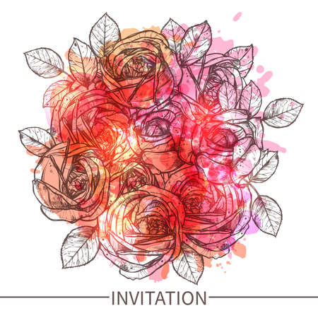 Invitation With Roses. Flowers With Watercolor Effect