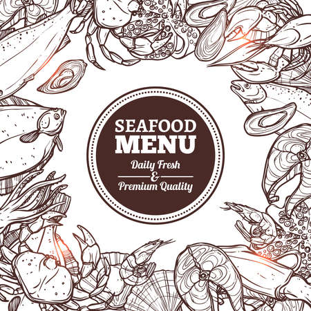 Seafood Sketch Menu With Hand Drawn Elements Vettoriali
