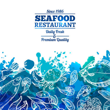 Seafood Restaurant. Seafood Background With Watercolor Effect