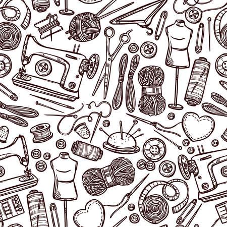 Vektor Nahtlose Muster Set Von Werkzeugen Für Das Nähen. Lizenzfrei ...