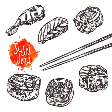 寿司スケッチ セット寿司メニュー 写真素材 - 64988967