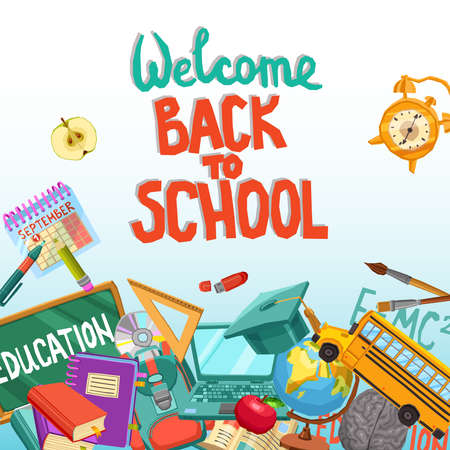 Back To School Design With Flat Elements