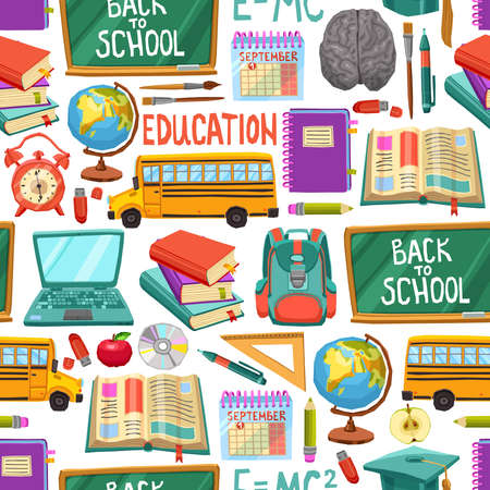school: Flat School Seamless Pattern With Colorful Education Icons