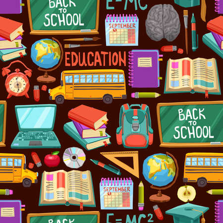 School And Education Seamless Pattern In Flat Style