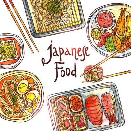 Asian Food, Hand Drawn Watercolor Illustration. Still Life Japanese Traditional Cuisine Illustration Vektorové ilustrace
