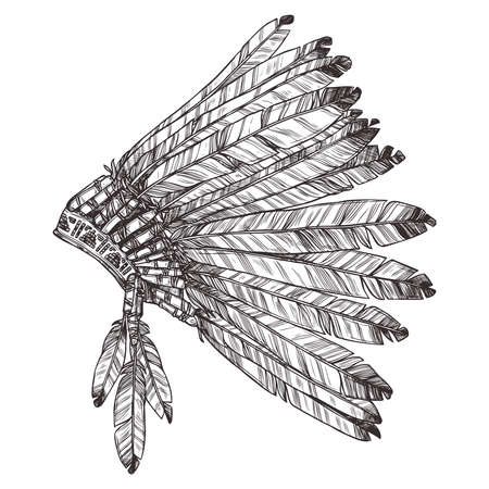 american history: Hand drawing of Native American Indian Headdress In Profile.