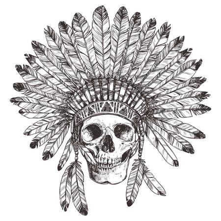 Dessin Hand of Native American Indian Coiffe Avec Crâne humain. Vecteurs