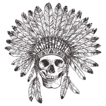 Hand Drawing of Native American Indian Headdress With Human Skull. Vectores