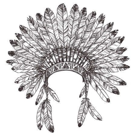Hand Drawing of Native American Indian Headdress.