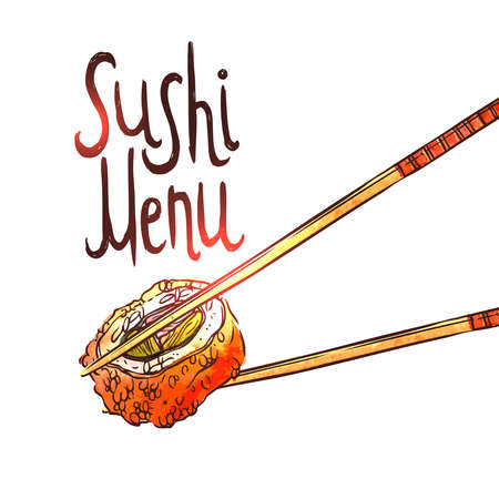 Illustration of hand drawing of Sushi, Chopsticks And Lettering. Illustration