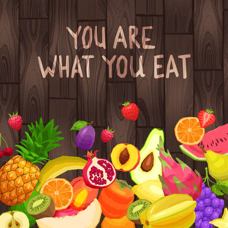 Fresh And Organic Fruits In Flat Style On Wooden Background With Text You Are What You Eat.