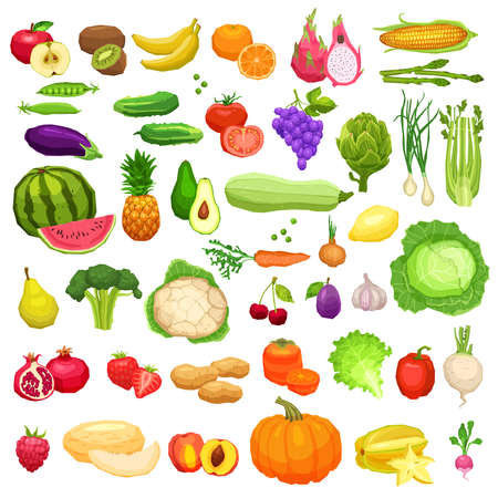 Vegetables And Fruits Big Icons Set In Flat Style On White Background. Healthy And Vegetarian Food Collection