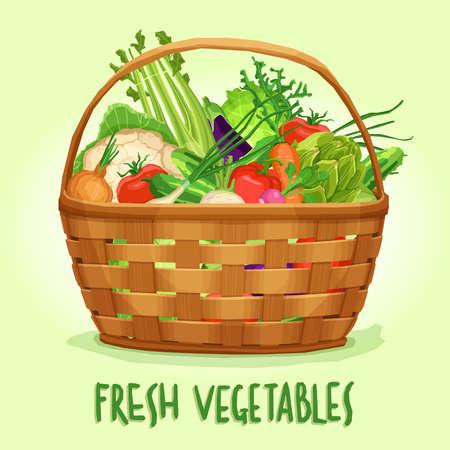 Basket with fresh vegetables, vector illustration Stok Fotoğraf - 73399961