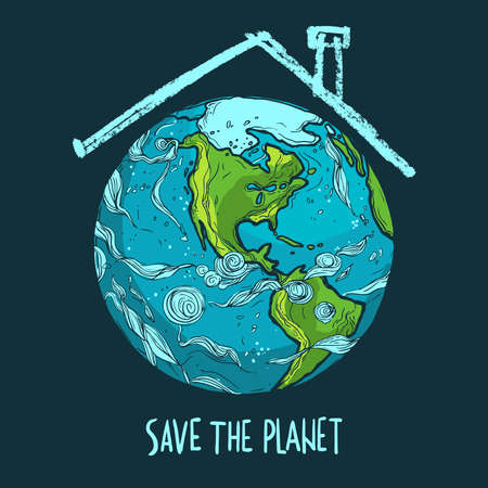 hand drawn ecological Earth Day poster, Save the Planet