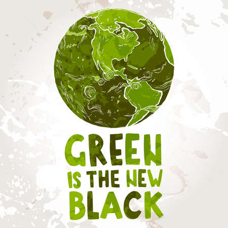 Hand drawn ecological illustration of Planet Earth with text Green is the new black 向量圖像