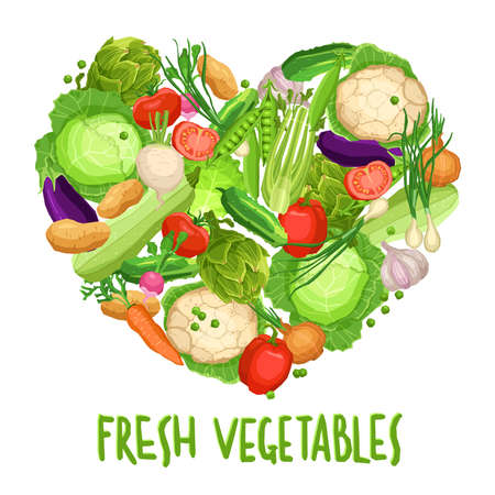 Heart made by different vegetables on white with text