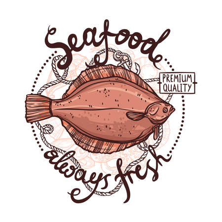 water quality: Seafood Label, Premium Quality Always Fresh Seafood Poster With Flounder, Rope And Anchor On White Background Illustration