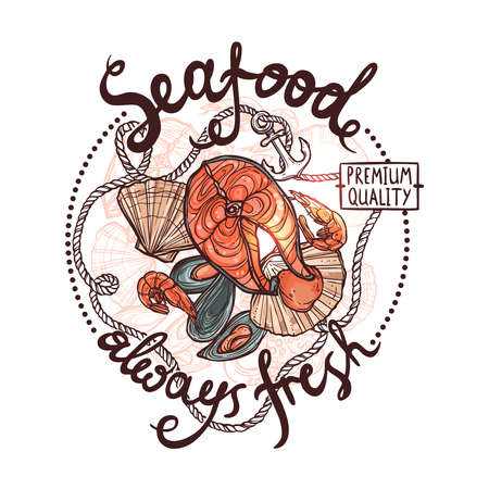 Seafood Label, Premium Quality Always Fresh Seafood Poster With Salmon, Oysters, Mussels, Shrimps, Rope And Anchor On White Background