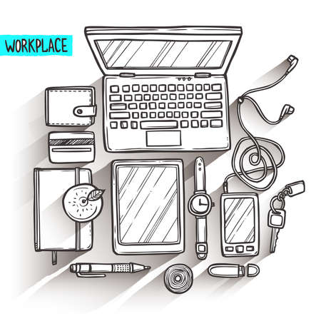 tablet pc in hand: Hand drawn illustration of workplace top view with work elements