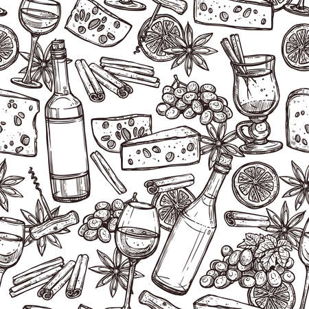 Hand Drawn Sketch Wine Seamless Pattern Illustration