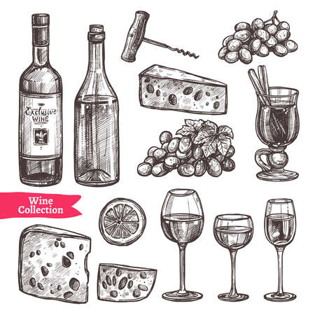 Hand Drawn Wine Set. Sketch Style Vettoriali