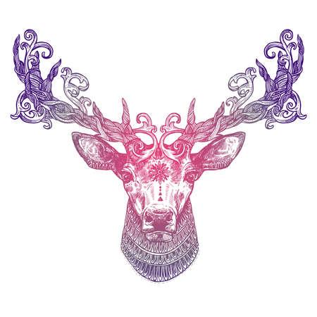 Cabeça de veado de tatuagem lilás ornamentais. Estilo desenhado de mão abstrata altamente detalhados Foto de archivo - 90226351
