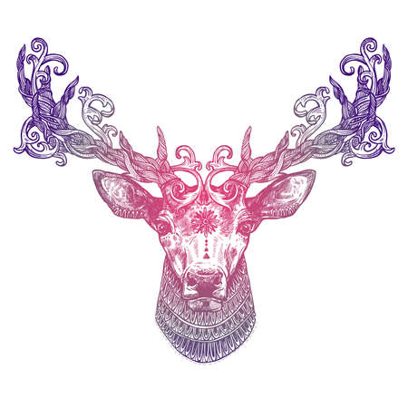 Ornamental Lilac Tattoo Deer Head. Highly Detailed Abstract Hand Drawn Style