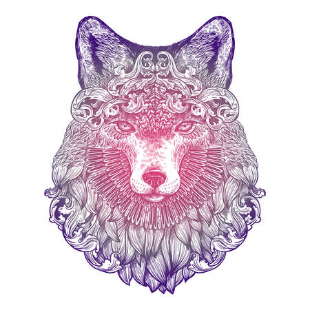 Ornamental Lilac Tattoo Fox Head. Highly Detailed Abstract Hand Drawn Style