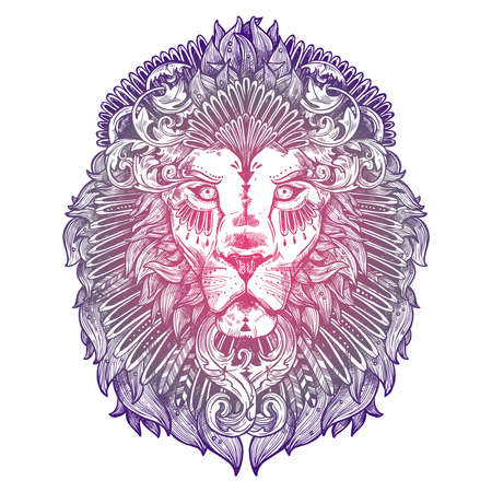 Ornamental Lilac Tattoo Lion Head. Highly Detailed Abstract Hand Drawn Style