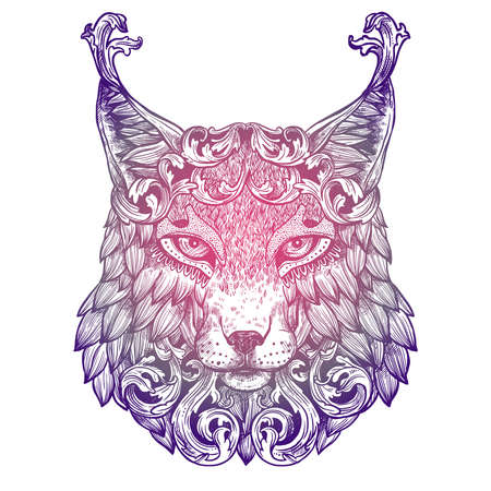 Ornamental Lilac Tattoo Lynx Head. Highly Detailed Abstract Hand Drawn Style 일러스트