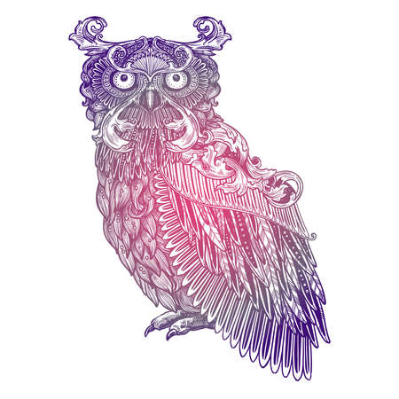 Ornamental Lilac Tattoo Owl. Highly Detailed Abstract Hand Drawn Style