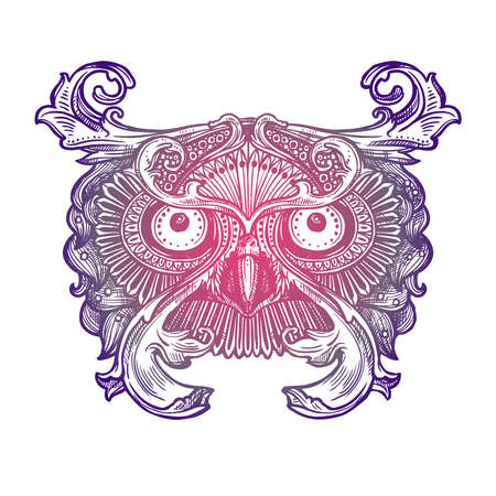 Ornamental Lilac Tattoo Owl Head. Highly Detailed Abstract Hand Drawn Style