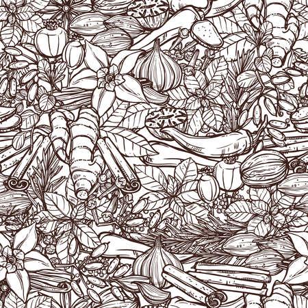 Naadloos Kruiden En Specerijen Zwart-wit Patroon