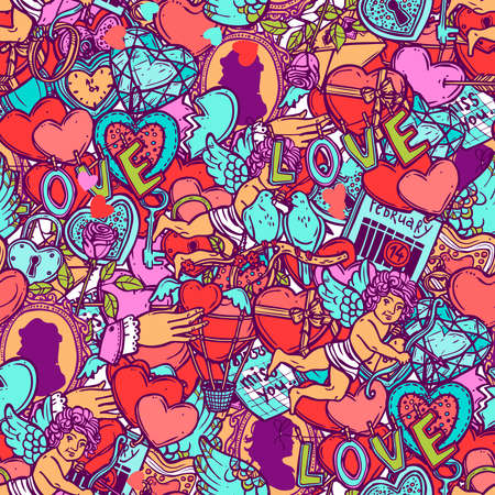 Love And Valentines Doodle Color Seamless Pattern