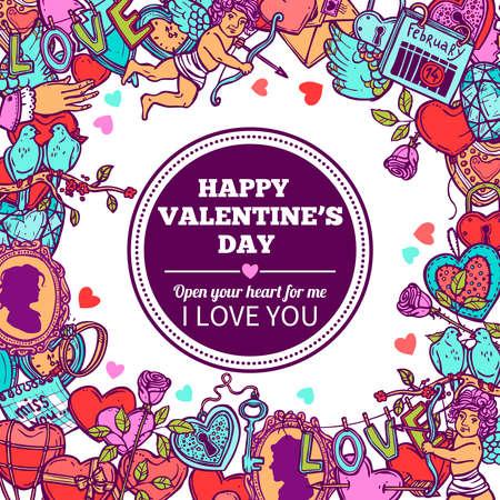 Love And Valentines Doodle Frame 向量圖像
