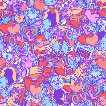 Love And Valentines Doodle Hand Drawn Color Seamless Pattern Ilustrace