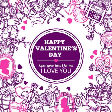愛とバレンタイン落書きお祝いと手描きのフレーム  イラスト・ベクター素材