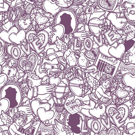 Liefde en valentijnskaarten Doodle naadloze patroon
