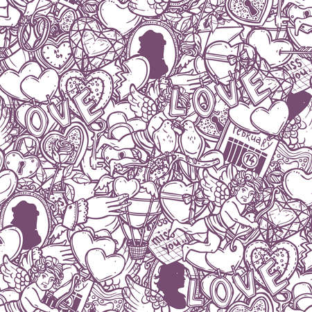 Love And Valentines Doodle Seamless Pattern Иллюстрация