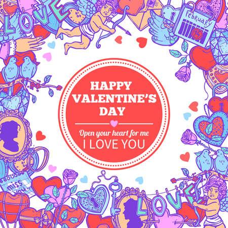 愛とバレンタイン落書きスケッチお祝いフレーム