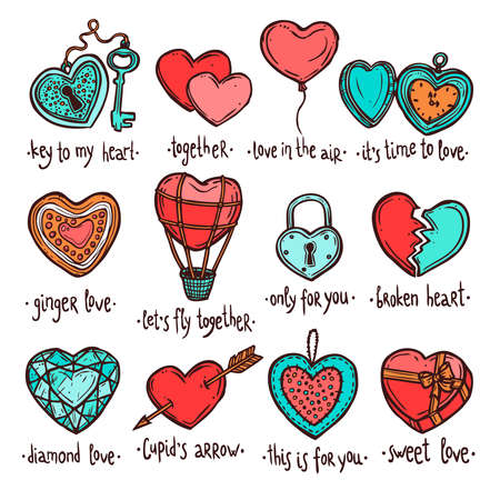 Love And Valentine Sketch Set. Hearts Color Collection Ilustrace